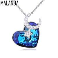 MALANDA New Fashion Naszyjniki Kryształ W Kształcie Serca Z Swarovski Gwiazdy Księżyc Wisiorek Naszyjniki Dla Kobiet Biżuteria Walentynki Prezent