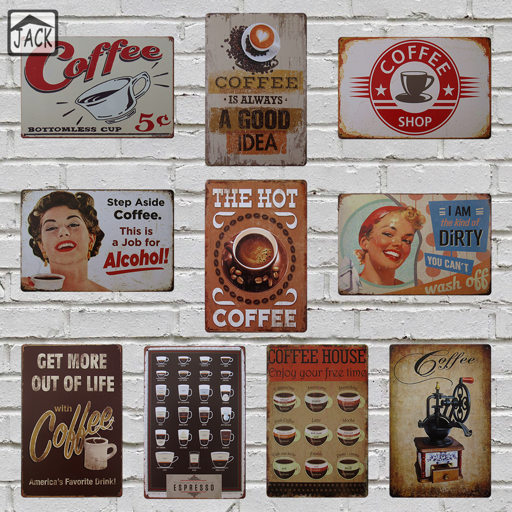 Classic Coffee House Advertising Plaques Metal Plate Poster 20X30CM Vintage Tin Signs Bar Club Cafe Shop home Wall Decor standard schnauzer