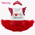 Infant baby romper with letter Cotton Dress For Girls Love Mommy Red Princess Flower Princess Tutu and Headband Baby Clothes