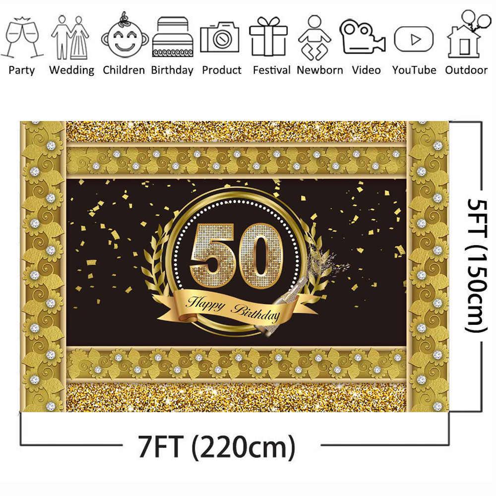 Feliz 50th aniversário pano de fundo ouro fronteira fundo de diamante 7x5ft fundo de vinil festa de aniversário foto cabine banner