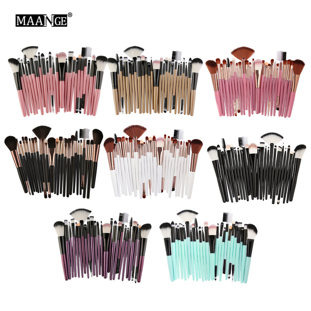 MAANGE 25pcs Makeup Brushes Set Beauty Foundation Power Blush Eye Shadow Brow Lash Fan Lip Concealer Face MakeUp Tool Brush Kit 2