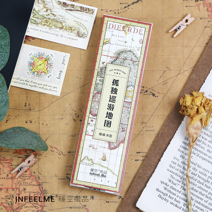 30 pcs/pack Lonely Travel Map Bookmark Paper Cartoon Animals Bookmark Promotional Gift Stationery Film Bookmark