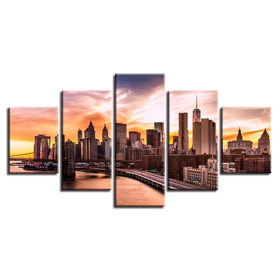 قماش اللوحة وحدات الفن المعيشة ديكورات للحائط يطبع 5 أجزاء جميلة جسر بروكلين مدينة الغروب مشهد الصور الإطار