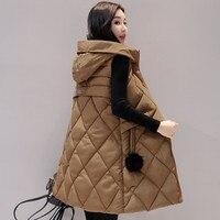 2018 Autumn Winter Women Vest Long Waistcoat Cotton Sleeveless Jacket Warm Hooded Fur ball
