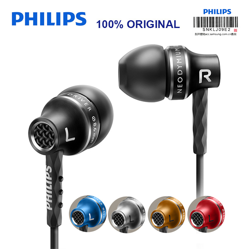 Philips SHE9100 Original In-Ear Earphone with Multiple Colour Wire Microphone Support Music phone Smartphone for Galaxy 8 Huawei original senfer dt2 ie800 dynamic with 2ba hybrid drive in ear earphone ceramic hifi earphone earbuds with mmcx interface