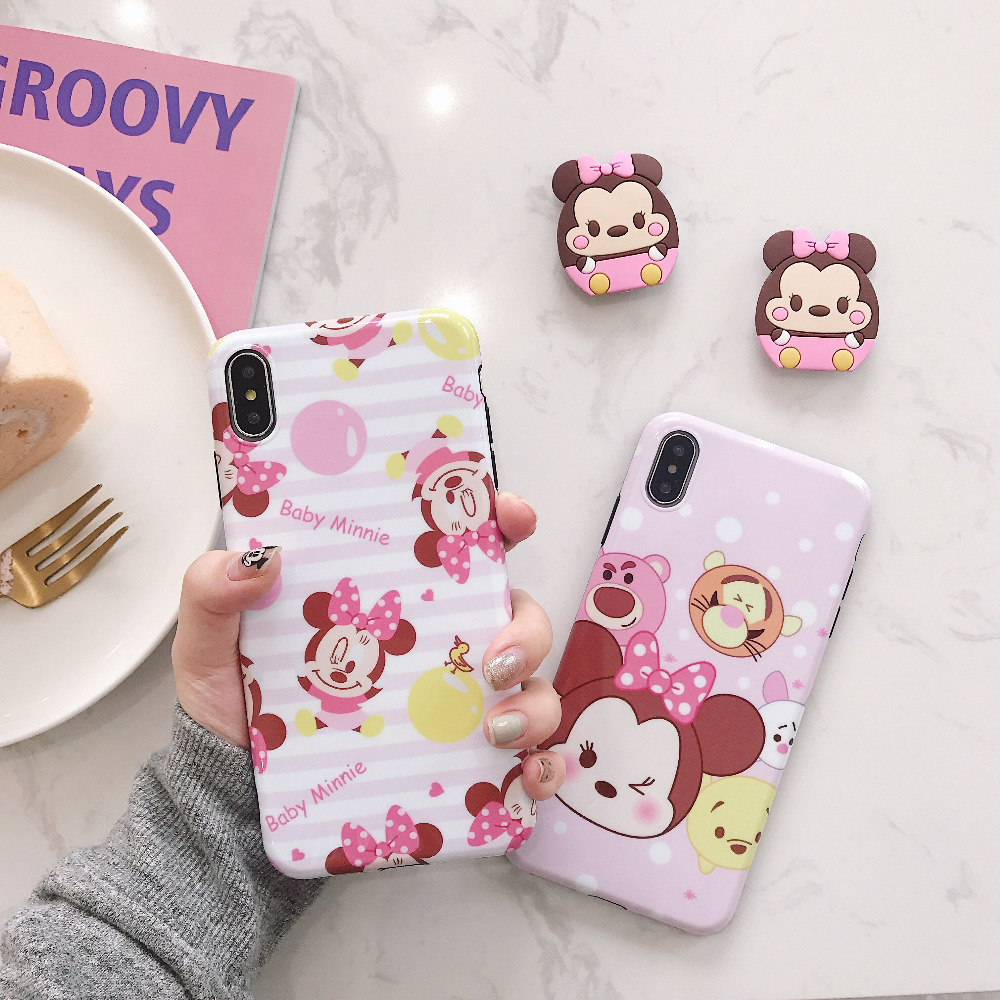 KAIEN Airbag bracket funny lovely cartoon Q Minnie Fashion soft Mobile phone case for iPhone 6 6s 7 8 plus X 10 XR XS MAX cover