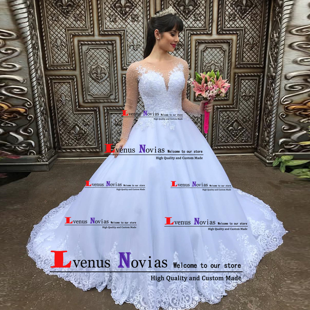 Robe De Mariee Luxury Beaded Boho Wedding Dress 2019 Long Sleeve Wedding Dresses Ball Gown Bruidsjurken