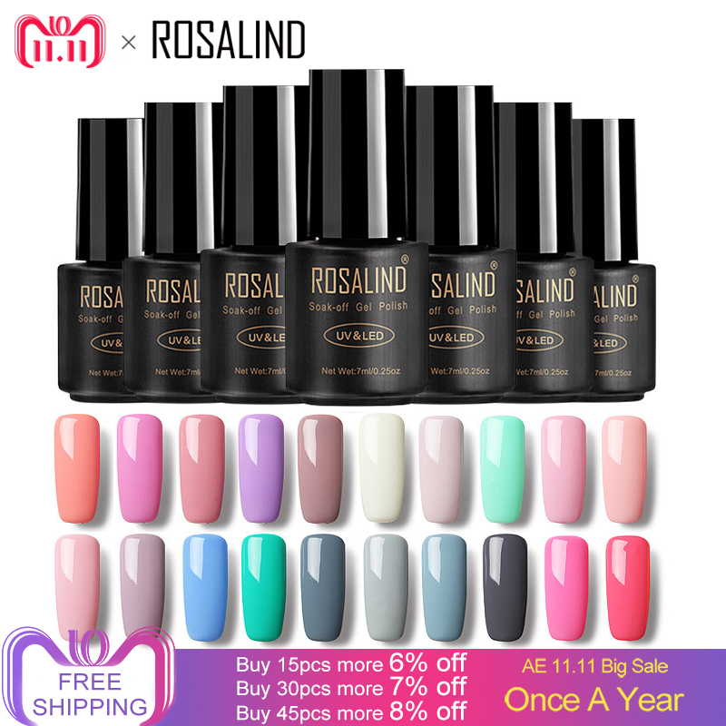 ROSALIND 7ML Gel Nail Polish Pure Color 31-58  Nail Gel Polish UV LED Semi Permanent Macaron Soak off Gel Varnish