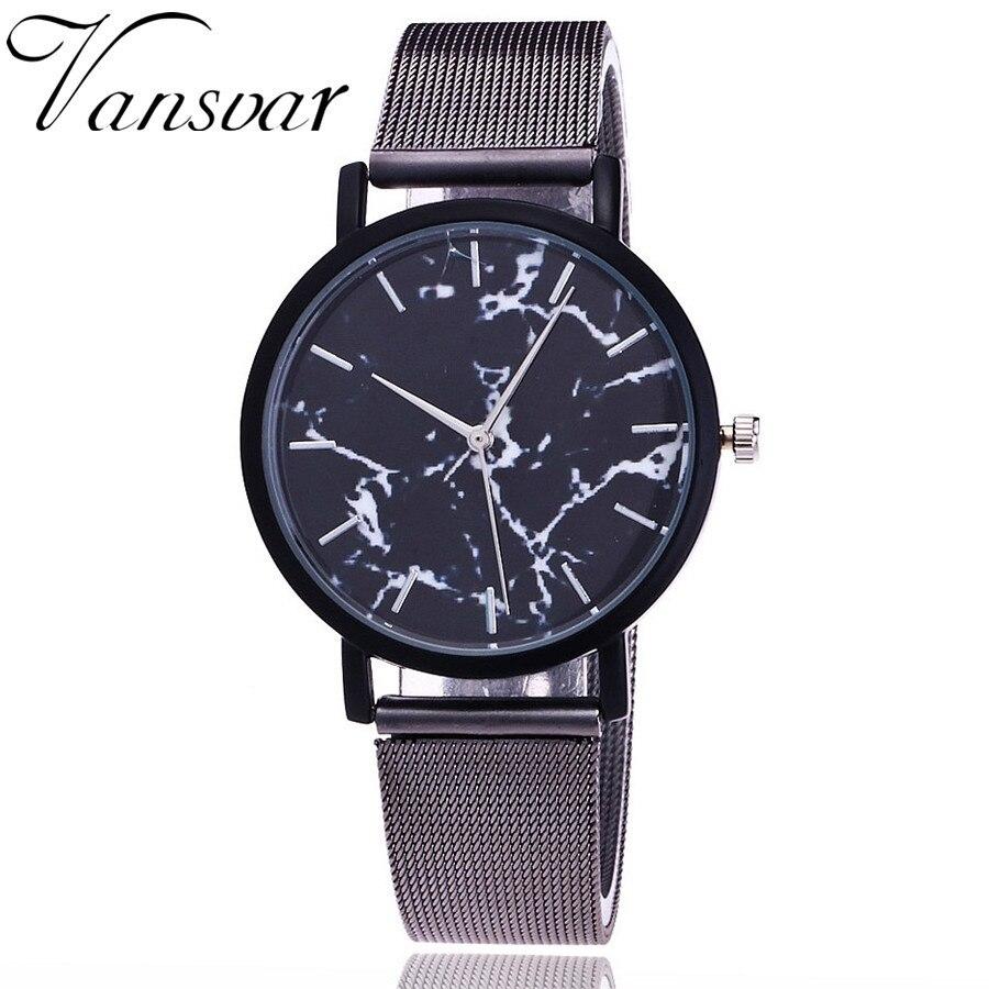 watch wome Brand Fashion Silver And Gold Mesh Band Creative Marble Wrist Watch Casual Women Quartz Watches Gift Relogio Feminino