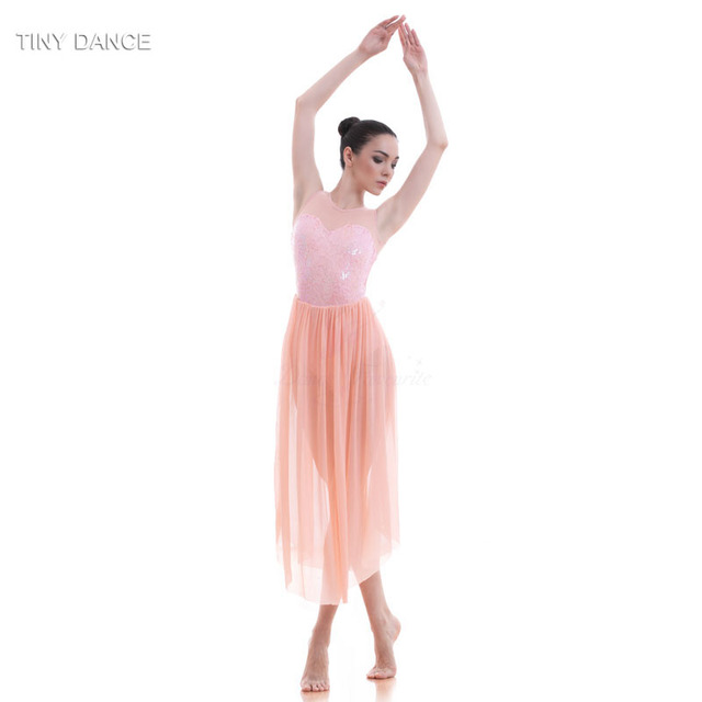 5e9d9a1aceb2 Top Quality Girls Sequin Dress Ballet Dance Lyrical Dress Women Stage  Costumes Contemporary Dance Long Mesh Dress 16031
