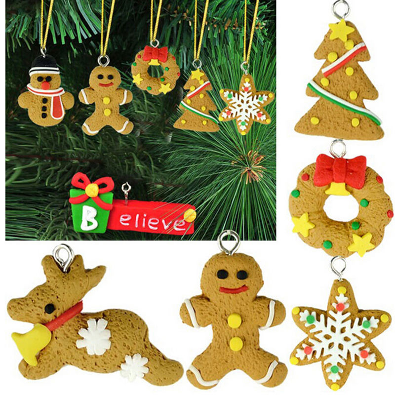 50Lots 6pcs/bag Christmas Pendants Baubles Xmas Tree Ornament DIY Crafts Kids Gift for Home Party Decorations