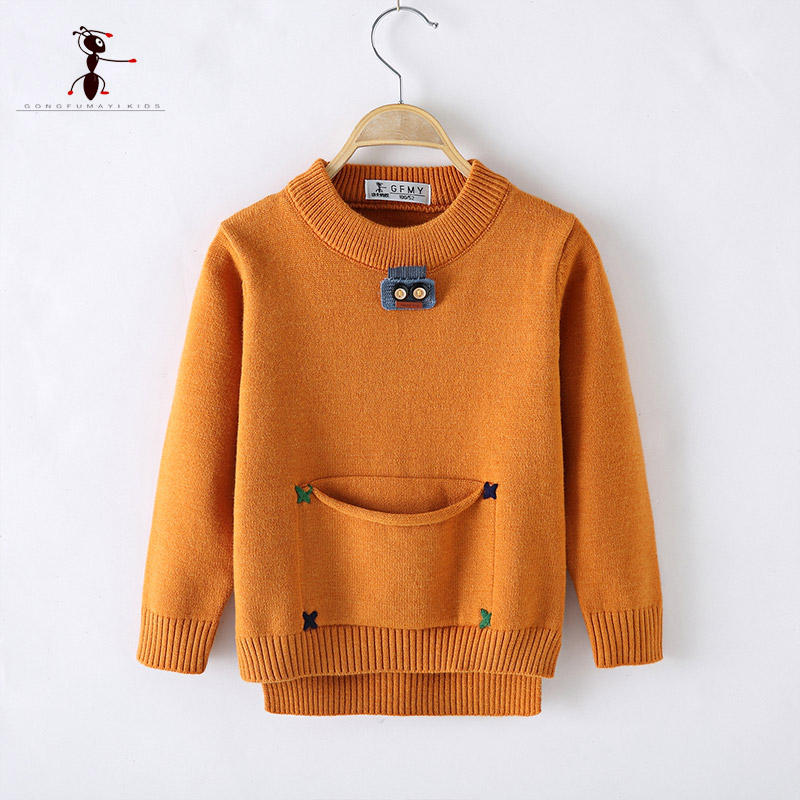 Kung Fu Ant 2017 New Arrival Boy Sweater Kids Pockets O-neck 3 Colors Knitted Creative School Party Clothes AM808