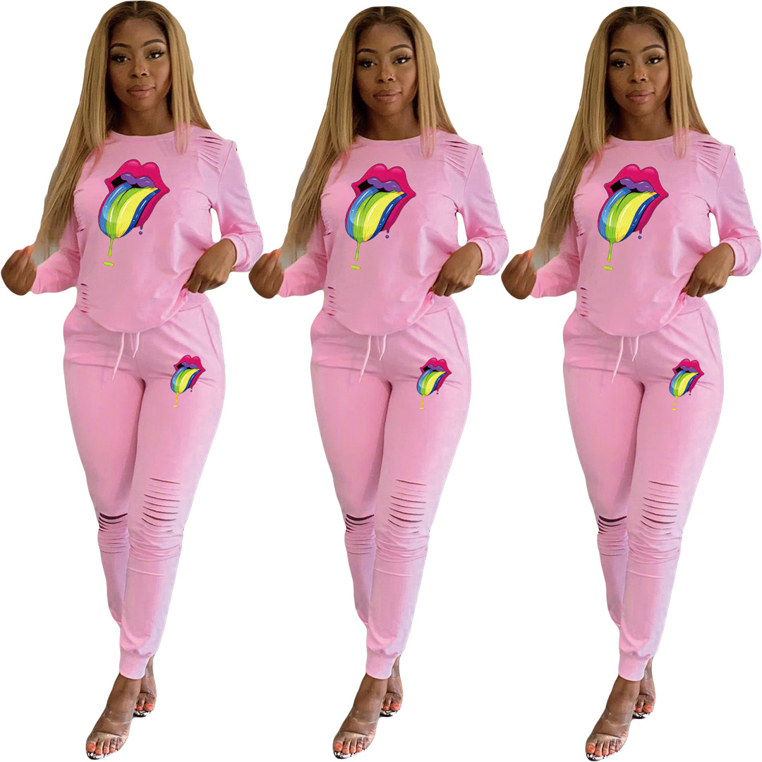 Autumn New Women Set 2 Piece Outfits Set Pink Big Lips Printed Long Sleeve Tops And Pants Ladies Suit