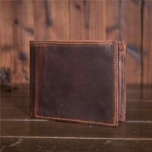 Shangdemeng leather new personality retro mad horse skin handmade short wallet 20 % discount 6004