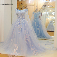 LS64420 Blue dress long partylong cape sweetheart floor length evening party dresses 2016 long with flowers 100% real photo