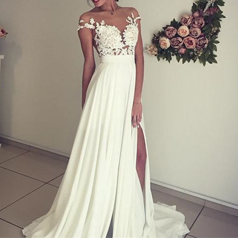 Elegant Lace Appliques Chiffon Wedding Gowns Back Hollow Out Ruffles Bridal Gowns Front Slit Floor Length Dresses Custom Made