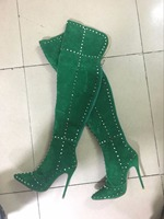 Real Photos Fashion Women Winter Over Knee High Heel Thigh High Boots Spike Rivets Custom Make