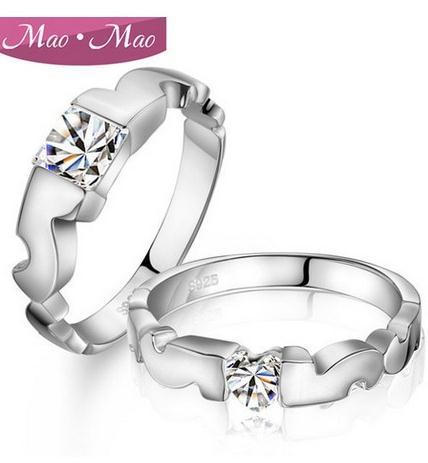 3ee1a7d9e58b9 US $8.23 |couple rings,genuine 925 sterling silver wedding rings fairytale  prince princess his and hers promise ring sets(ZJ R43)-in Rings from ...