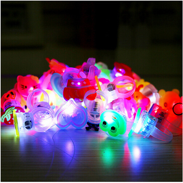New Year 10pcs/lot Kids Cartoon LED Flashing Light Up Glowing Finger Rings Electronic Christmas Halloween Fun Toys Gifts
