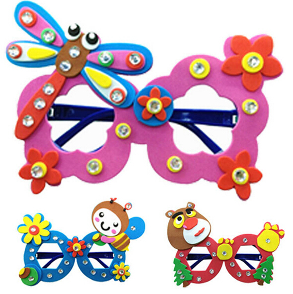 1 PCS Kids handmade DIY Eva font b glasses b font personalized decoration puzzle cartoon font