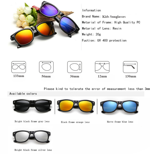 Cool Sunglasses for Kids Sun Glasses for Children Boys Girls Sunglass UV 400 Protection with Case Children Gift