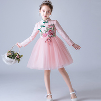 Chinese qipao traditional cheongsam gown flower girl robe boutique infantil kid clothing piano costume flower embroidery dress