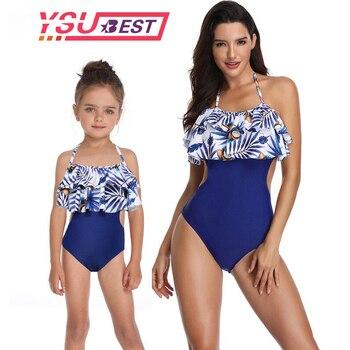 79a03b6d66 Traje de baño madre hija una pieza mamá e hija traje de baño familia juego  de ropa familia mirada Mamá ME Bikini