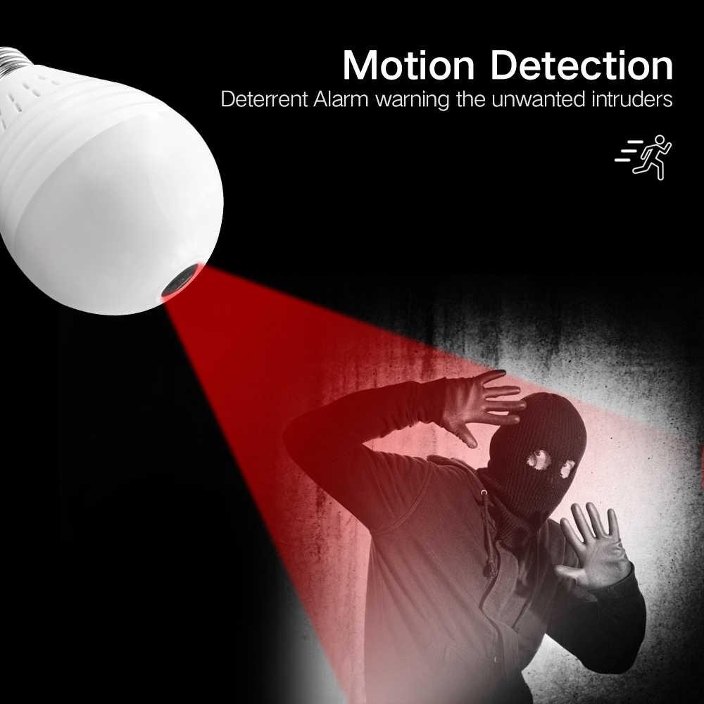 SDETER كاميرا ip لاسلكية واي فاي لمبة إضاءة 906P عين السمكة البانورامية CCTV كاميرا مراقبة للمنزل الأشعة تحت الحمراء للرؤية الليلية P2P كاميرا صغيرة الصوت