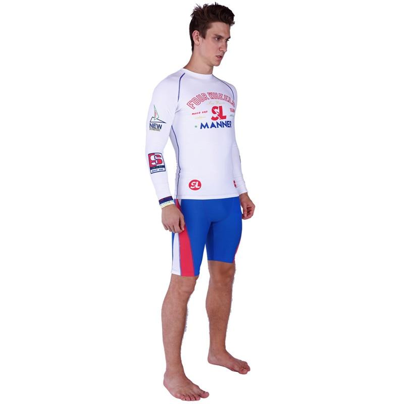 SABOLAY Rash Guard Men Tight Long Sleeve Surf Shirt Swimsuit Sunscreen UPF50 Swimming Short Suit Swim Pants Plus Size Swimwear in Rash Guard from Sports Entertainment