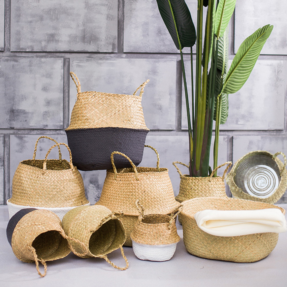 Image 2 - Natural Seagrass Basket Foldable Laundry Basket Bamboo Woven Storage Basket Wicker Rattan Flower Pot Handmade Straw Plant Basket-in Storage Baskets from Home & Garden