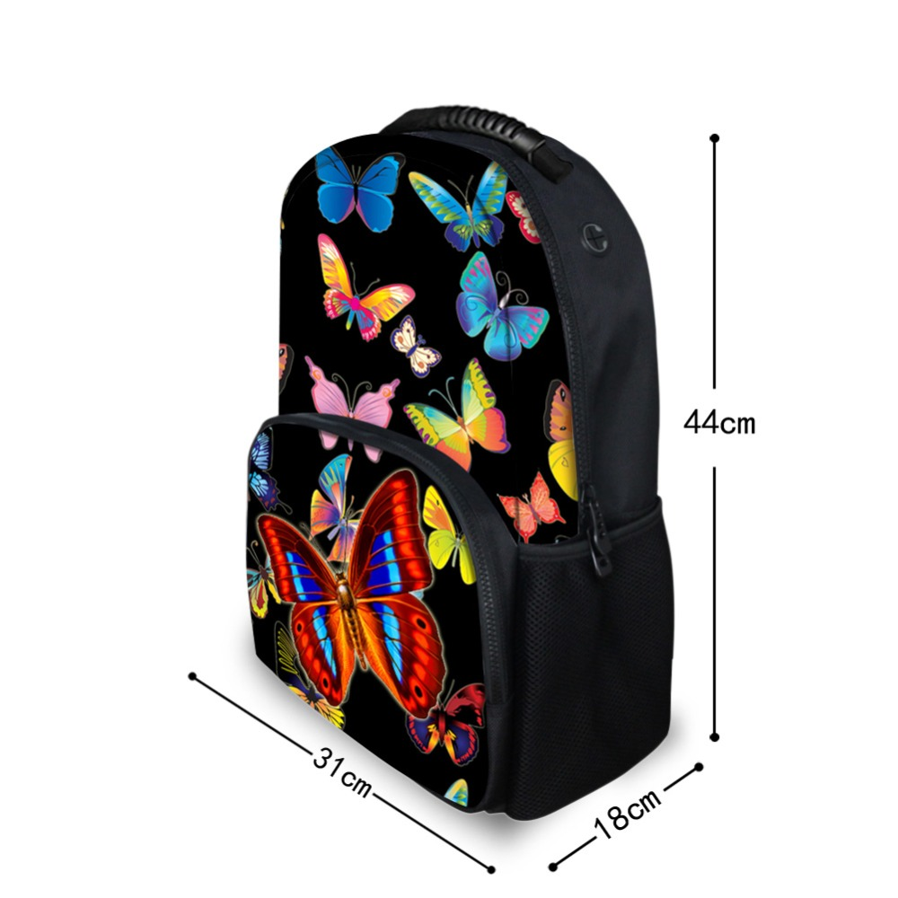 Forudesigns Pretty Printing Butterfly Backpack For Teens Girls Polyester Women Travel Backbag Primary Middle School Kids Bagpack #2