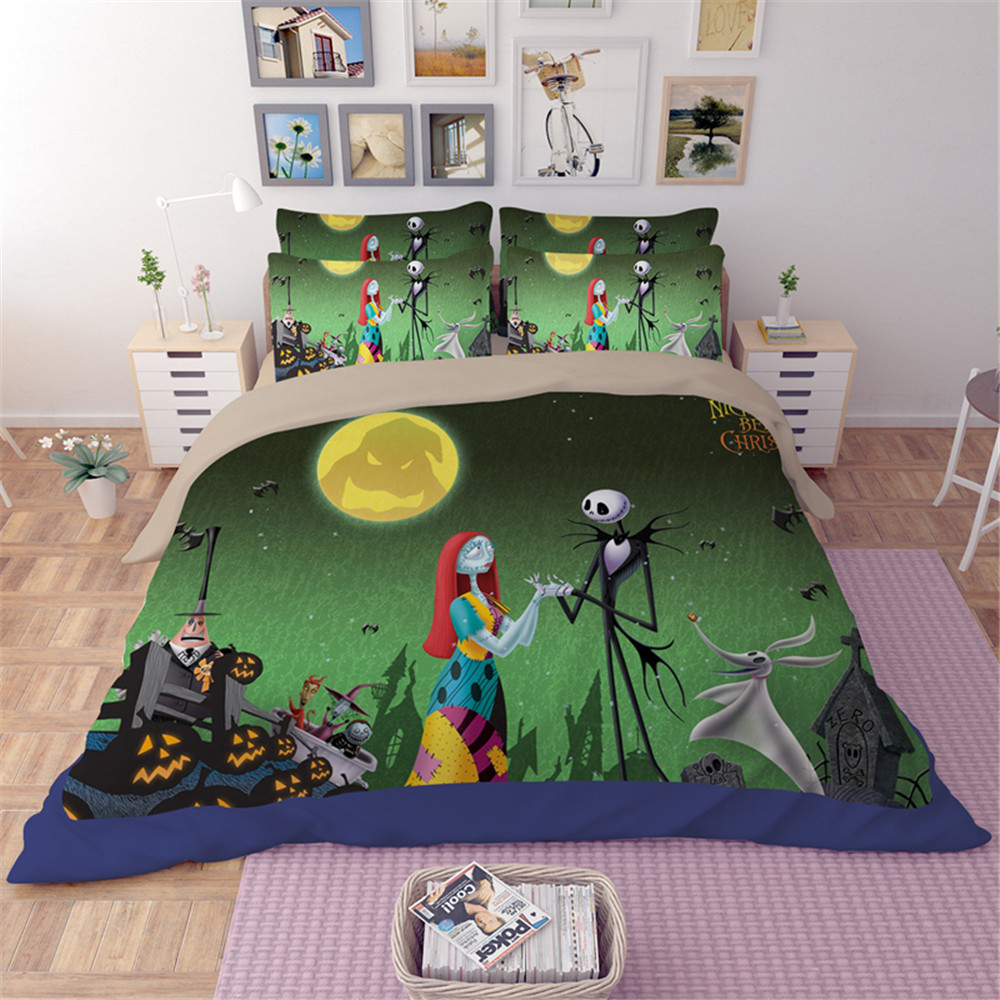 Cilected 3D Nightmare Before Christmas Bedding Set Sanding full queen king size Duvet Cover Set 3pc