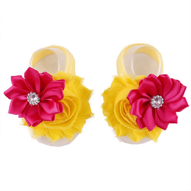 Cheapest Floral Baby Girls Foot Cover 2-Flower Fashion Diamond Newborn Foot Slippers Elastic Foot Bands Wristband Sock