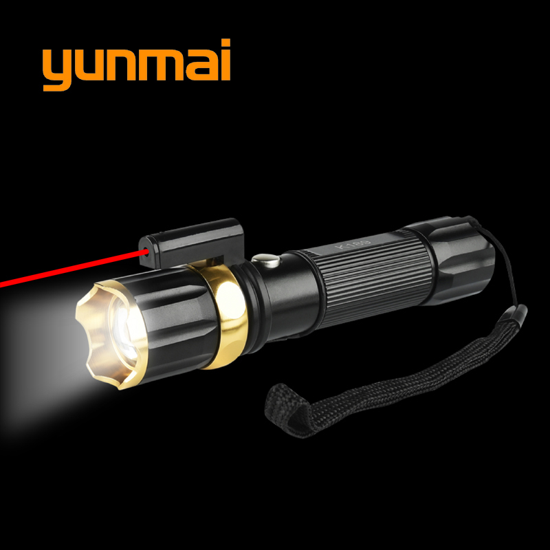 New Red Laser+new Xm-l T6 Led Hunting Flashlight 5000 Lumen Tactical Flash Light Torch Lantern Rechargeable 18650 Or Aaa Battery