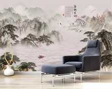 цена на beibehang Custom fashion decorative painting 3d wallpaper Chinese ink landscape waterfall TV background wall papers home decor