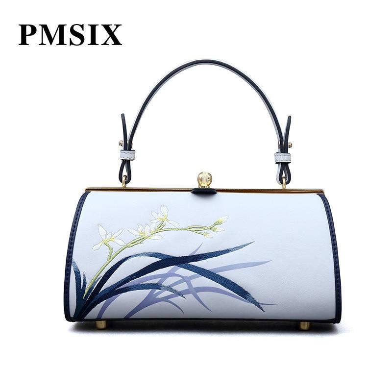 PMSIX dames sacs à main mode moraillon broderie fleurs décontracté Vintage Floral imprimé fille Portable unique sac à bandoulière femmes