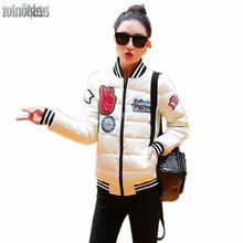 2016 New Women s Stand Collar Quilting Quilted Jacket Short Thin Padded Bomber Jacket Coat Pilots