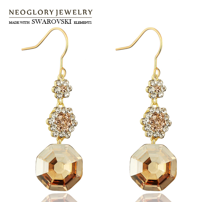 все цены на Neoglory MADE WITH SWAROVSKI ELEMENTS Crystal & Rhinestone Drop Earrings Light Yellow Gold Color Geometric Design Women Party