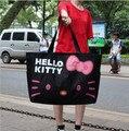 50*38 cm kawaii hello kitty plegable de gran capacidad de bolsa de lona del hombro bolsas de pañales
