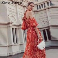 Ziwwshaoyu Sexy Off Shoulder dresses Print Beading Puff Sleeve elegant Big pendulum dress Summer new women's