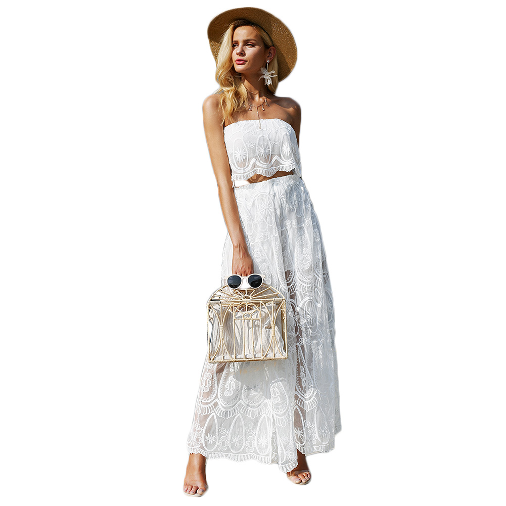 2018 Summer Two Piece Set Women Sexy Off shoulder Lace Wrapped Crop Top + High Split Long Skirts White 2 PC Set
