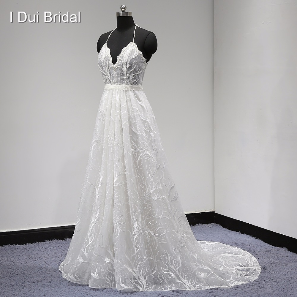 Unique Lace Wedding Dress Halter Backless Pearl Beaded with Detachable Belt A Line Factory Real Photo