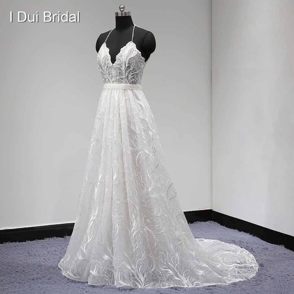 Unique Lace Wedding Dress Halter Backless Pearl Beaded with Detachable Belt A Line Factory Real Photo New
