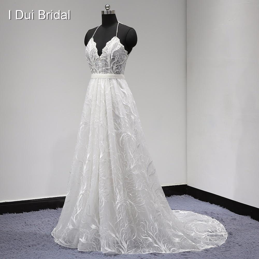 Unique dentelle robe de mariée licou dos nu perle perlée avec ceinture détachable une ligne usine vraie Photo nouveau
