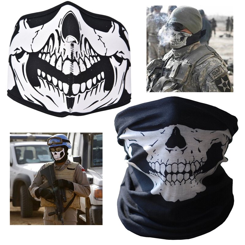 Hot 2017 Neck Warmer Mask 2 style air force Skull Tubular Scary Face Mask Bandana Motorcycle Riding Multi function braga cuello bicycle ski motor bandana motorcycle face mask skull for motorcycle riding scarf women men scarves scary windproof face shield