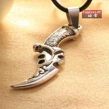 1pc Wholesale price New Hot Sale Fashion Jewelry leather Chain Women's/men's alloy Plated Dagger sword Necklace For Women/men