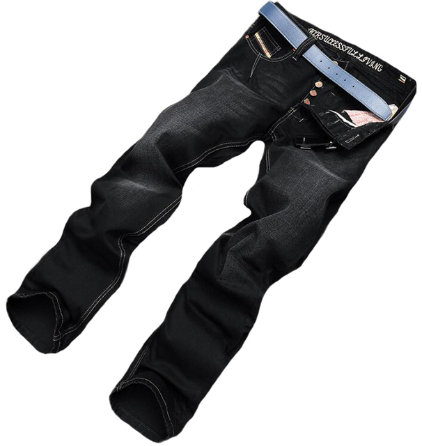 Top Sale Black Fashion Mens Jeans Brand Clothing Casual Straight Full Length Trousers Lightweight Skinny Jeans Men Denim Pants