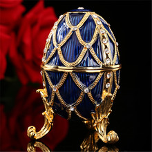 Blue faberge egg art collectible for home decoration