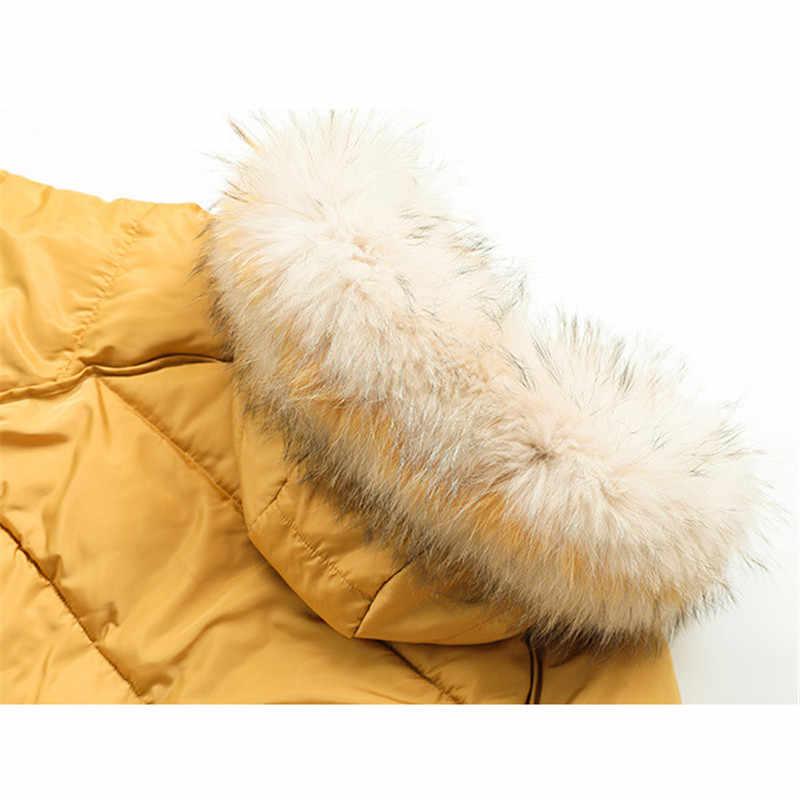 Abrigo de invierno para mujer verde morado negro talla grande suelta grande pluma con capucha Parkas 2019 nueva moda coreana gruesa chaqueta de calor CX944