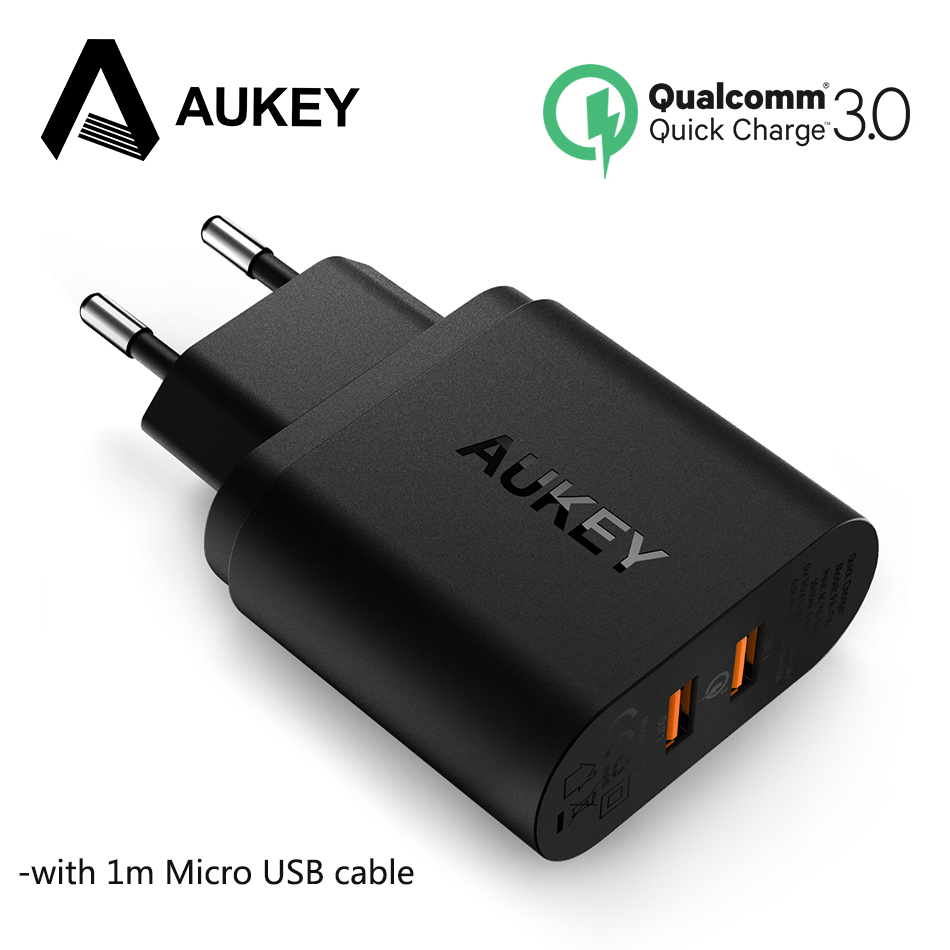 AUKEY QC3.0 39W USB Charger Quick Charge 3.0 Fast Wall Mobile Phone Charger For Xiaomi mi7 mi mix 2 Samsung Galaxy S9 S8 Tablets